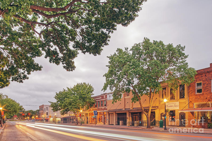 Long Exposure Photograph of Downtown New Braunfels West San Antonio Street - Texas Hill Country by Silvio Ligutti