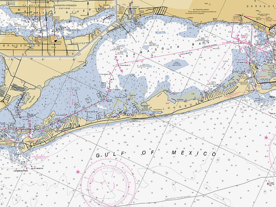 Longboat Ket Florida NOAA Nautical Chart by Paul and Janice Russell