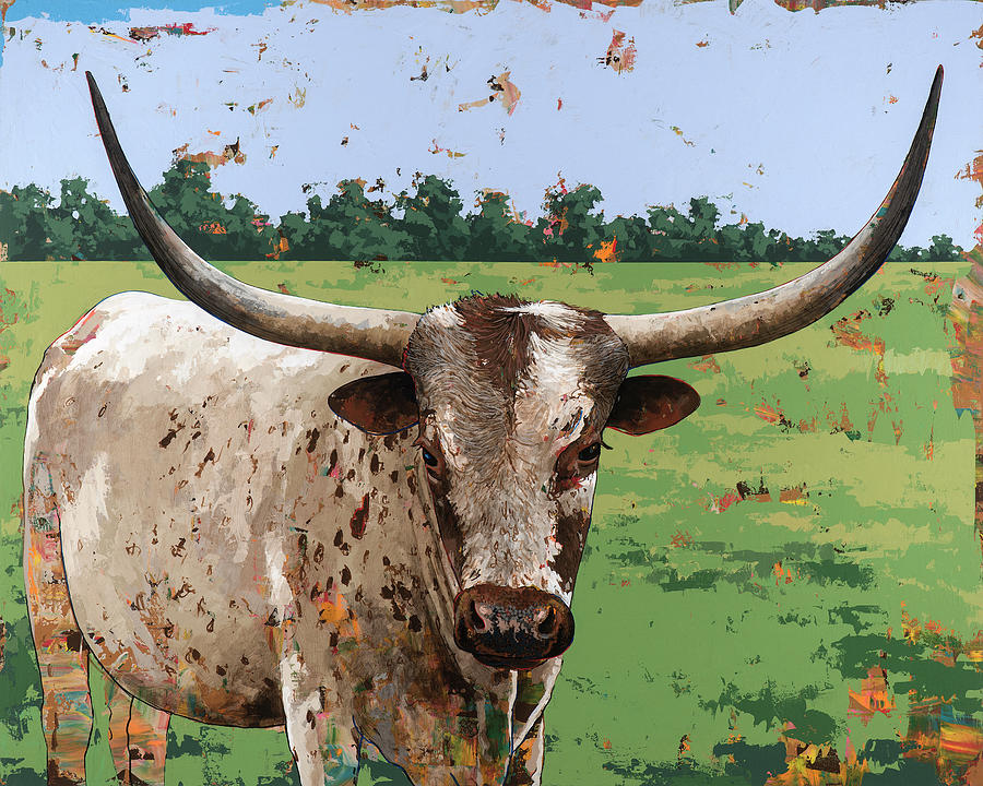 Cow Painting - Longhorns #1 by David Palmer