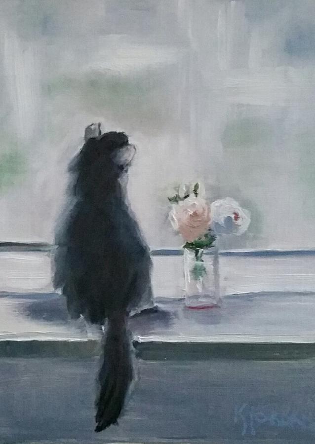 Cat Painting - Longing by Karen Jordan