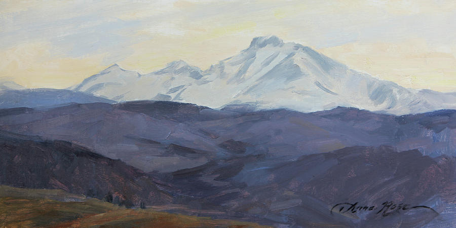 Mountain Painting - Longs Peak, Late March by Anna Rose Bain