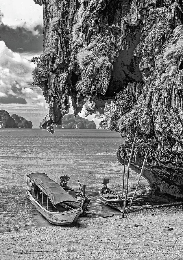 Longtail Boats - Phang Nga Bay - Thailand Bw Photograph