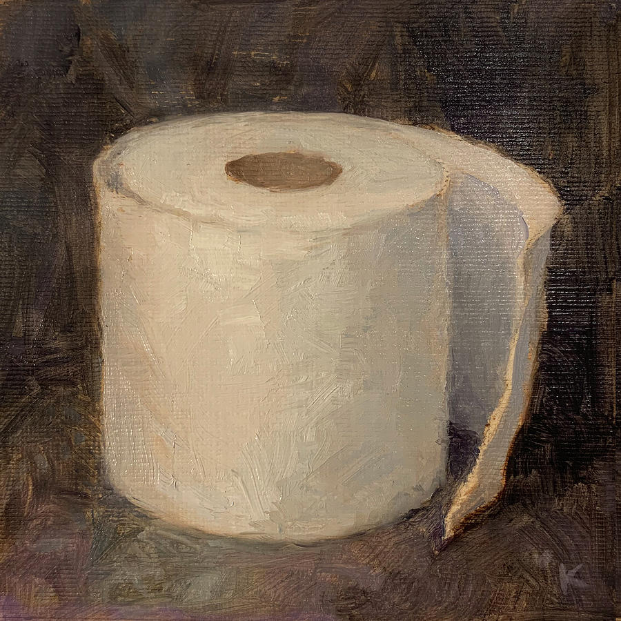 Toilet Paper Painting - Loo Roll, Purple Black Backdrop by Kato D