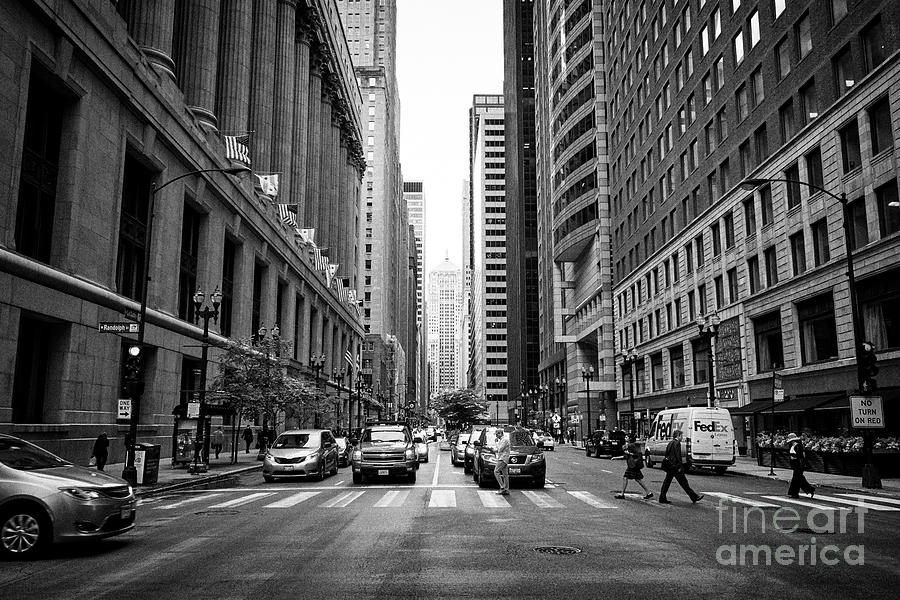 Chicago Photograph - Looking Along The Lasalle Street Canyon Towards The Chicago Board Of Trade Building In The Financial by Joe Fox