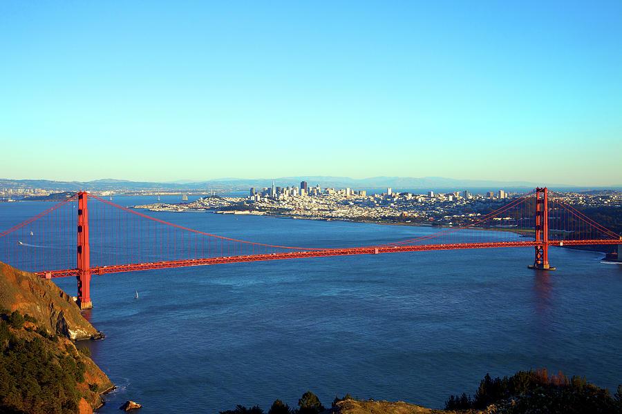 Looking Down At The San Francisco Bridge Photograph by Ekash