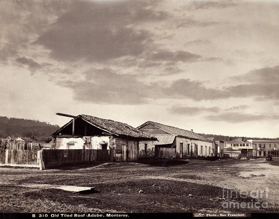 Looking down Munras Ave. at the Cooper Molera Adobe and the Alva by California Views Archives Mr Pat Hathaway Archives