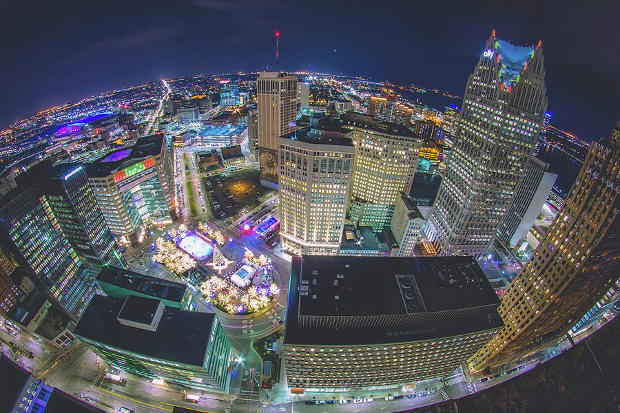 Looking down on Detroit during the holidays by Jay Smith