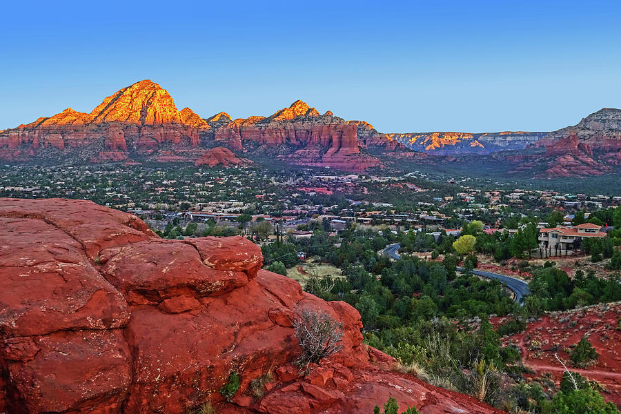Sedona Photograph - Looking down on Sedona from Airport Mesa Sunrise by Toby McGuire