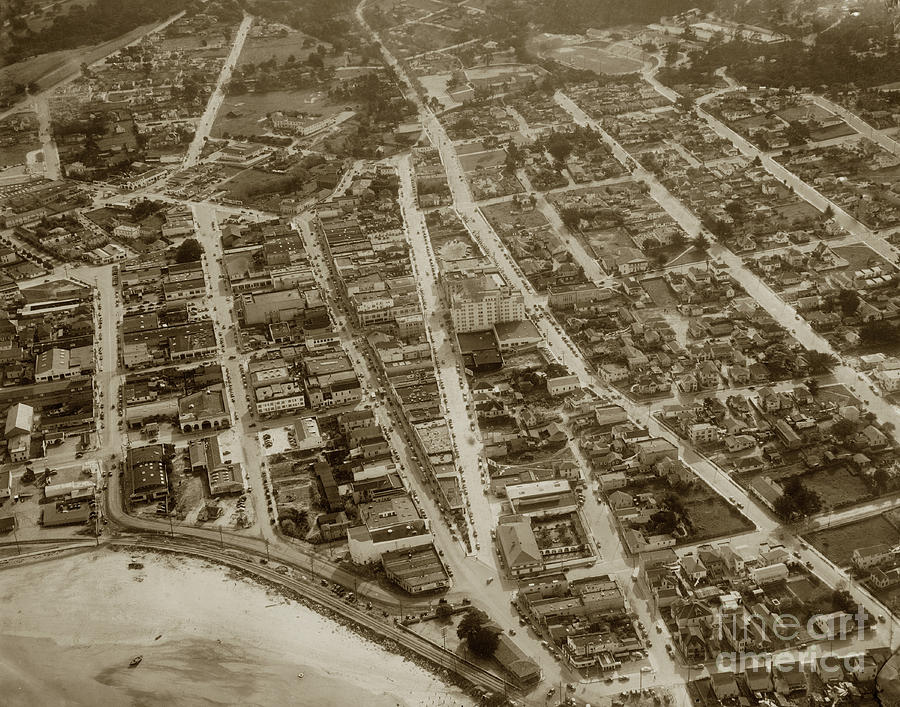 Looking down on the Intersection of Alvarado And Calle Principal St.s, Monterey  by California Views Archives Mr Pat Hathaway Archives