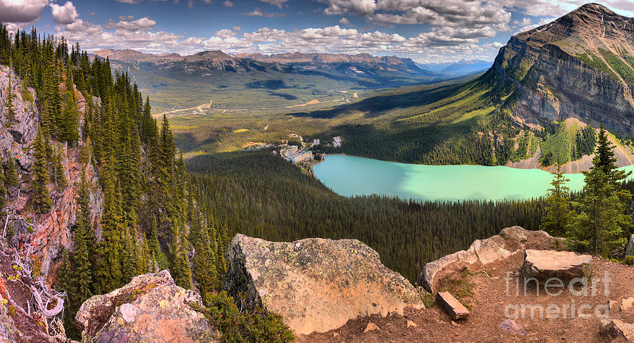 Looking Out Over Lake Louise From The Little Beehive - Panorama by Adam Jewell