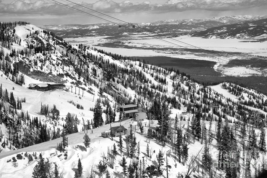 Looking Out Over The Gondola Summit Black And White by Adam Jewell