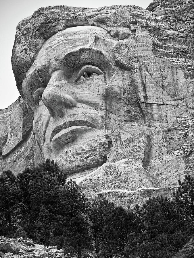 Looking Up at the Portrait of Abe Lincoln at Mt. Rushmore by Keith Dotson