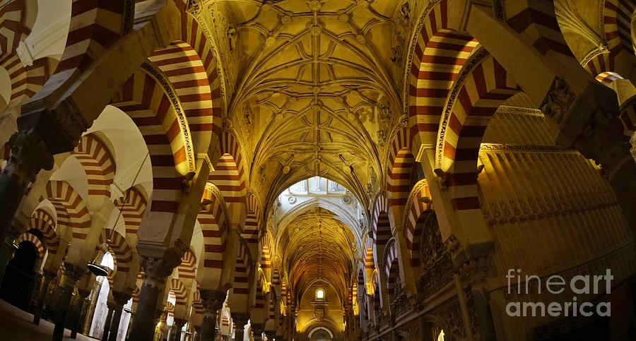 Spain Photograph - Looking Up Within The Cordoba Mezquita by Tony Lee