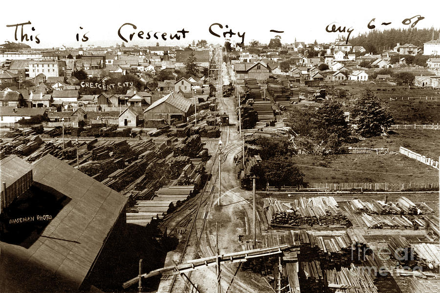 Looking West down 3rd Street, Crescent City, Del Norte County, C 1908 by California Views Archives Mr Pat Hathaway Archives