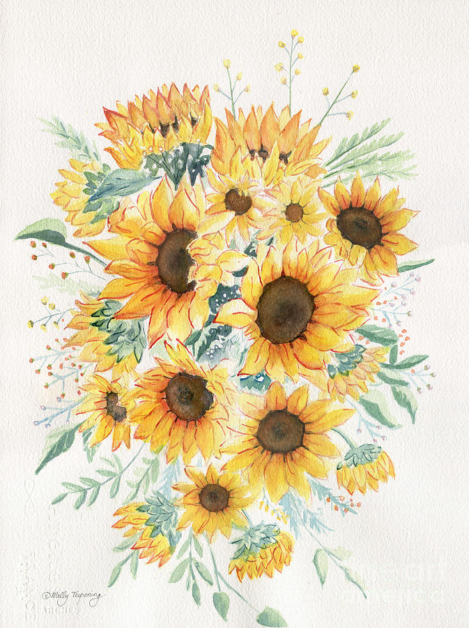 Loose Painting - Loose Watercolor Sunflowers by Melly Terpening