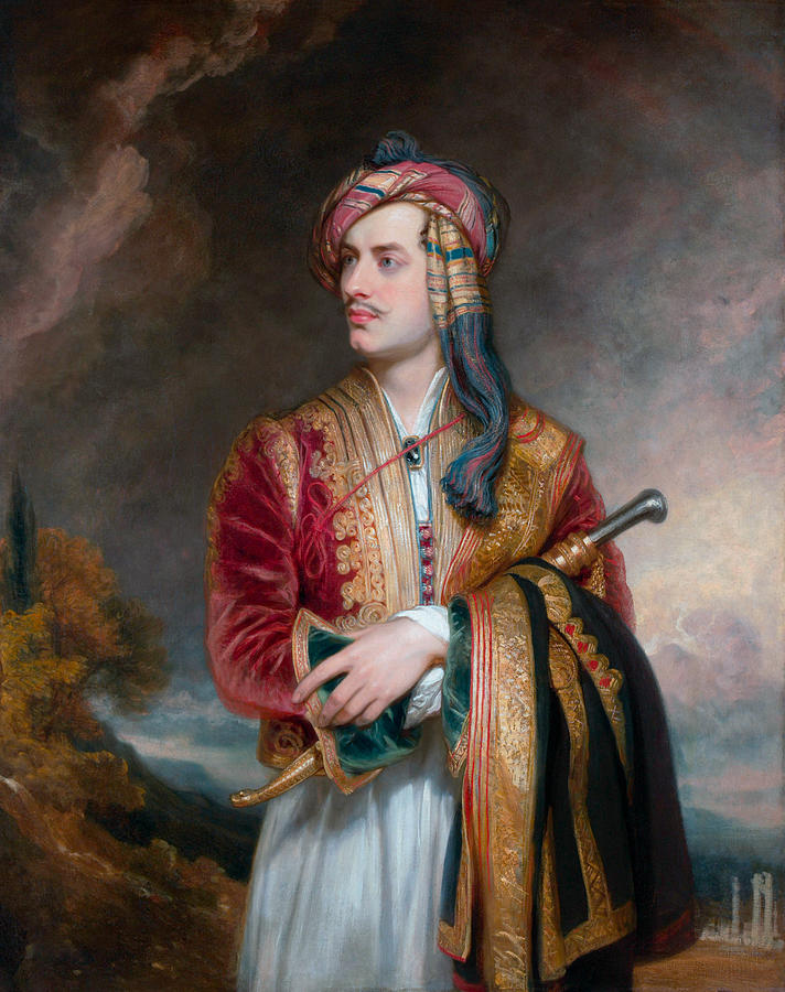 Lord Byron In Albanian Dress - 1813 Painting by War Is Hell Store