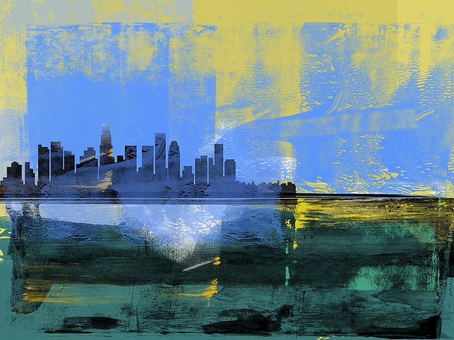 Los Angeles Mixed Media - Los Angeles Abstract Skyline I by Naxart Studio