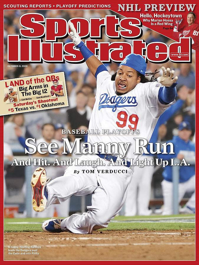 Los Angeles Dodgers Manny Ramirez, 2008 Nl Division Series Sports Illustrated Cover Photograph by Sports Illustrated