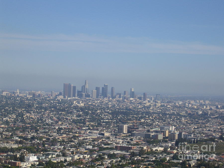Los Angeles Downtown View From Griffith Observatory High Rise Buildings Typical Sunny Hazy Day 2008 by John Shiron