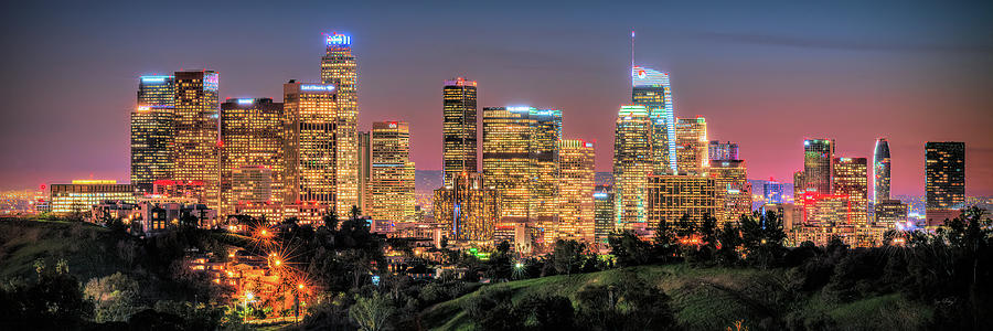 Los Angeles Skyline Photograph - Los Angeles 2019 LA Skyline Downtown at Dusk by Jon Holiday