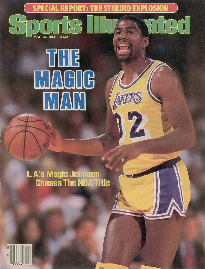 Los Angeles Lakers Magic Johnson, 1985 Nba Western Sports Illustrated Cover Photograph by Sports Illustrated