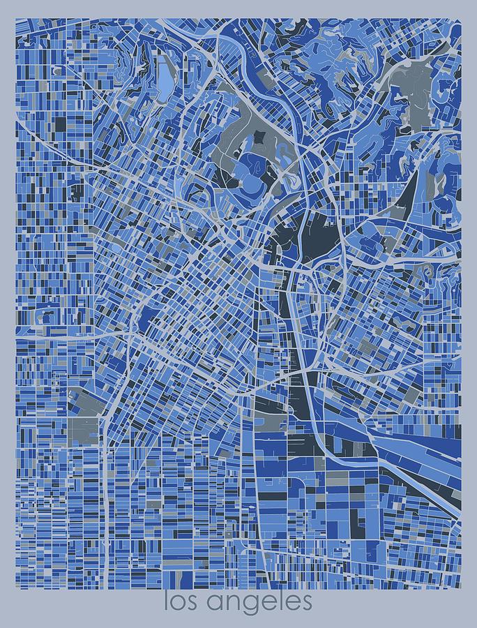 Los Angeles Digital Art - Los Angeles Map Retro 5 by Bekim M