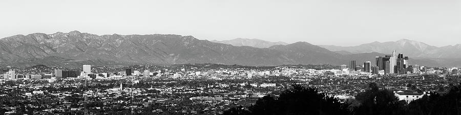 Los Angeles Panoramic Skyline And Mountain Landscape - Monochrome Photograph