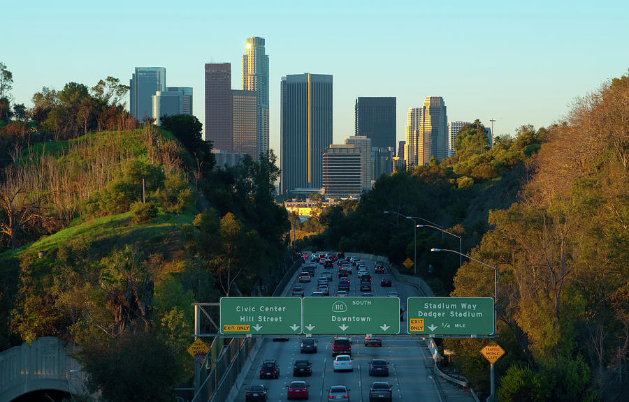 Los Angeles Skyline And Freeway At Photograph by Davel5957