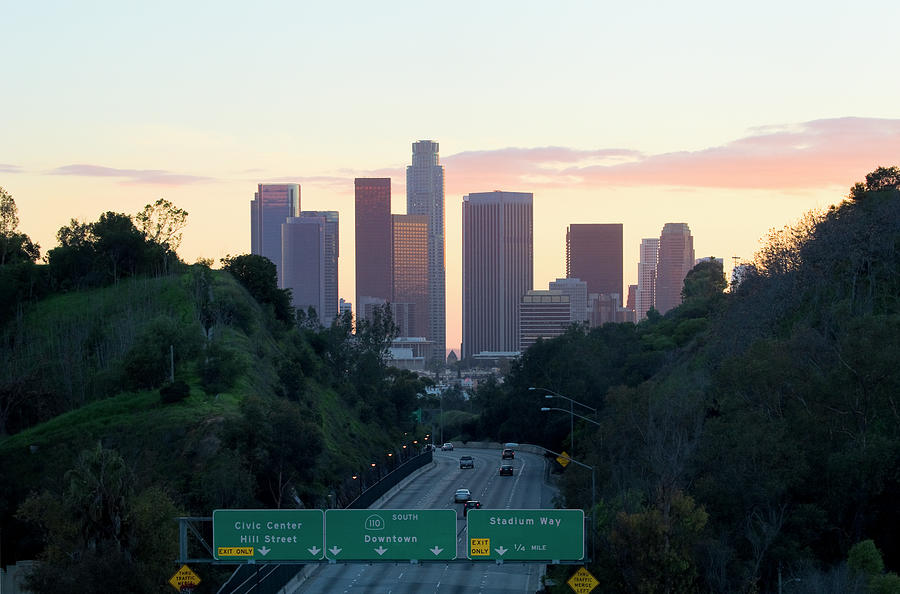 Los Angeles Skyline At Sunset Photograph by Chrisp0
