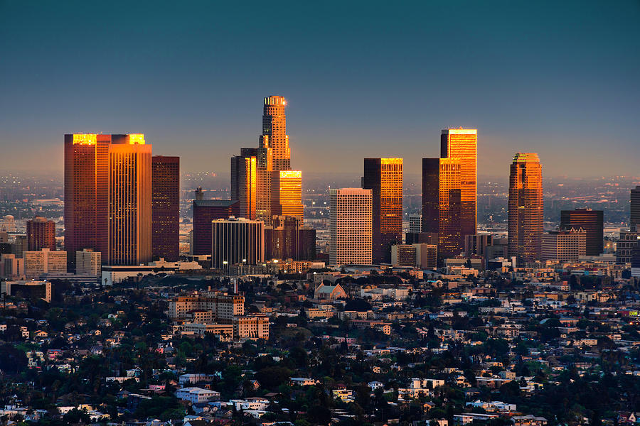 Los Angeles Skyline At Sunset Thru Smog Photograph by Dszc