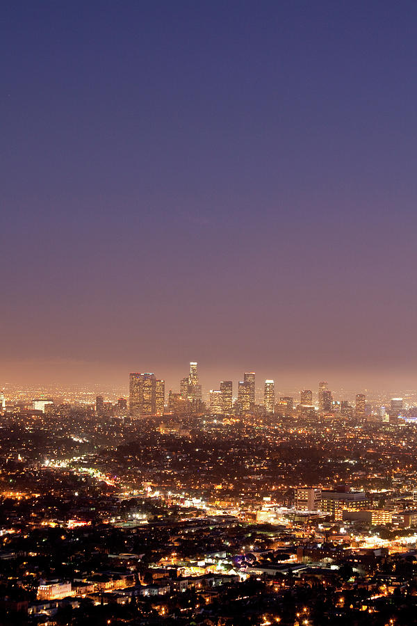 Los Angeles Skyline At Twilight Photograph by Uschools