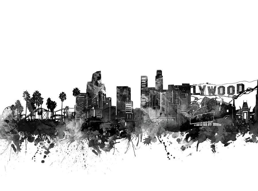 Los Angeles Skyline Black And White Digital Art