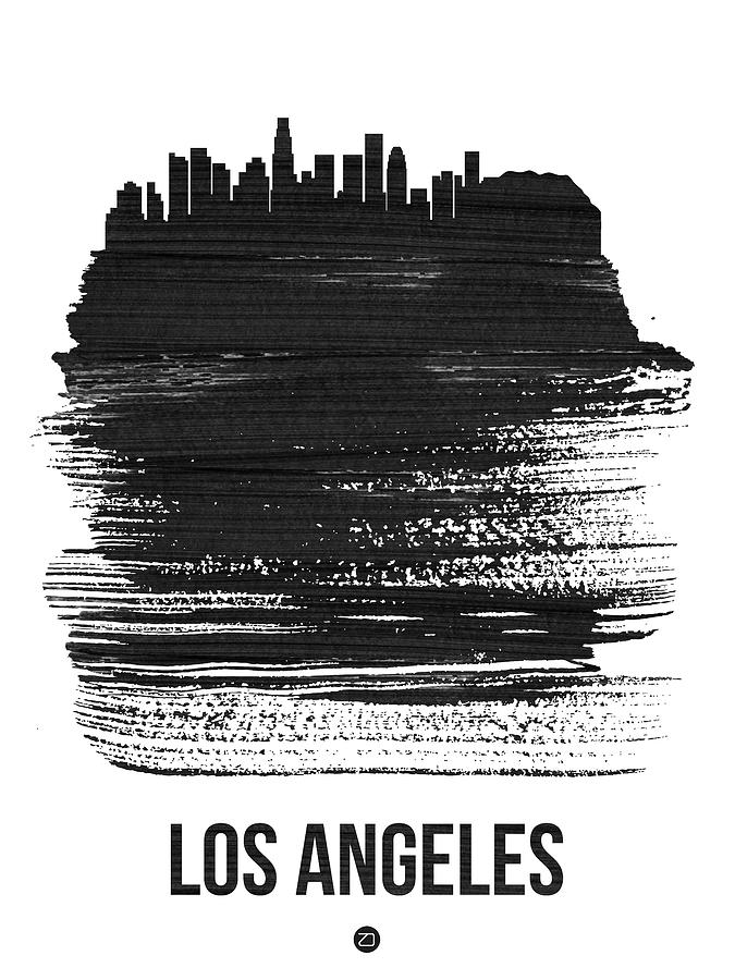 Los Angeles Mixed Media - Los Angeles Skyline Brush Stroke Black by Naxart Studio