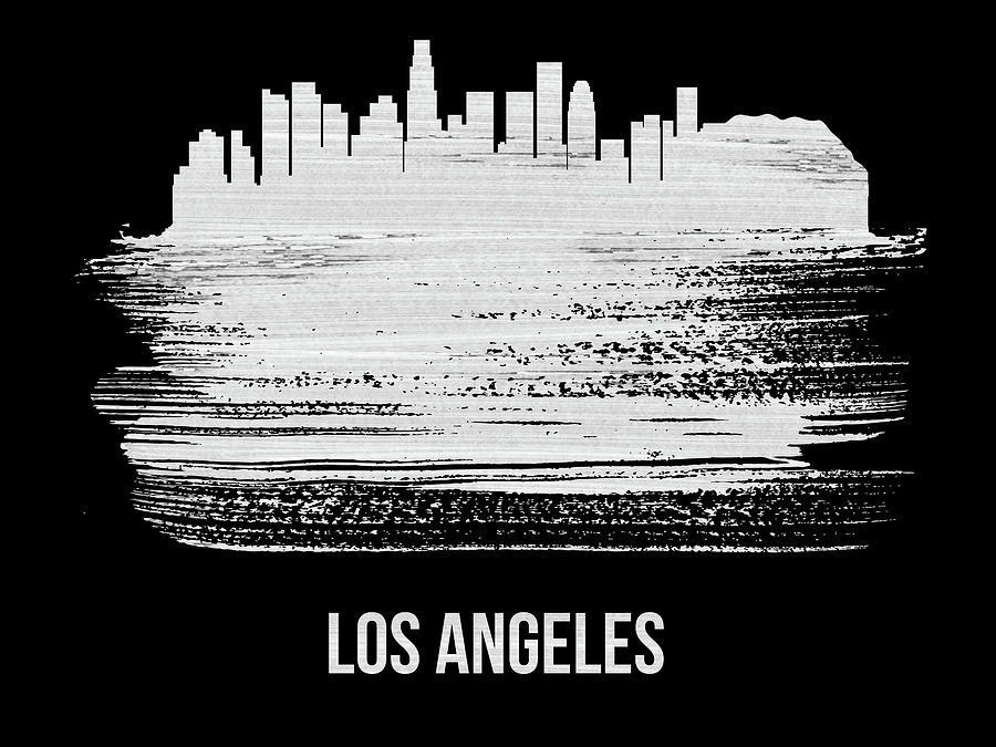 Los Angeles Mixed Media - Los Angeles Skyline Brush Stroke White by Naxart Studio