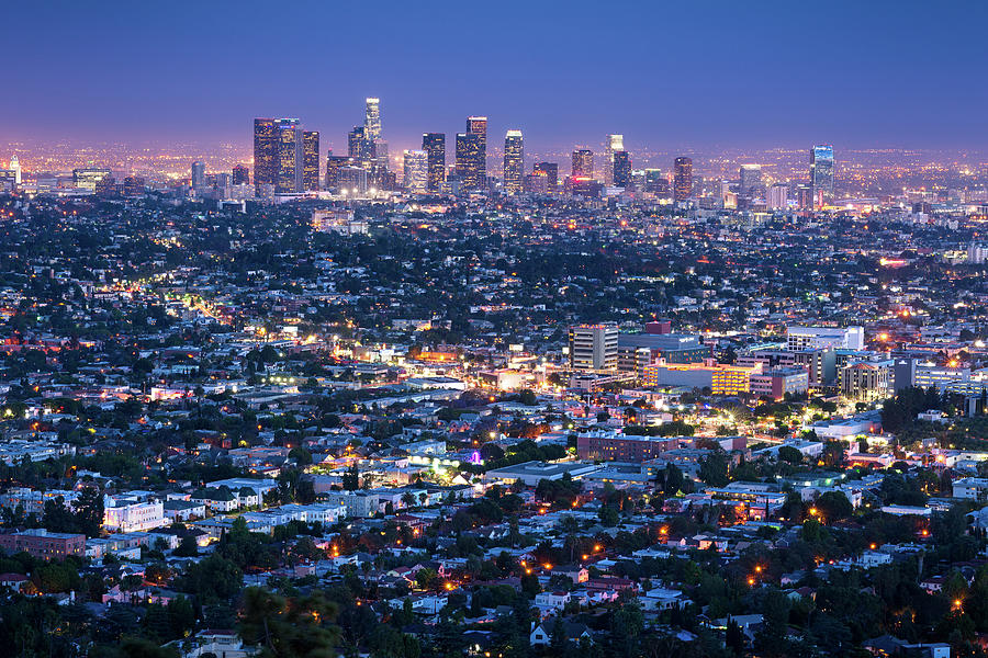Los Angeles Skyline Cityscape At Dusk Photograph by Chrishepburn