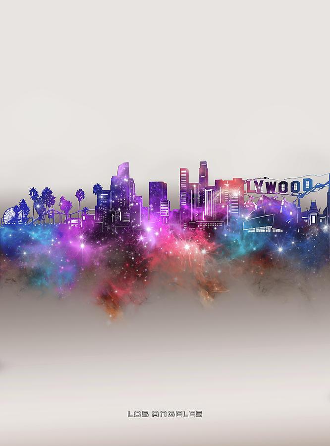 Los Angeles Digital Art - Los Angeles Skyline Galaxy by Bekim M