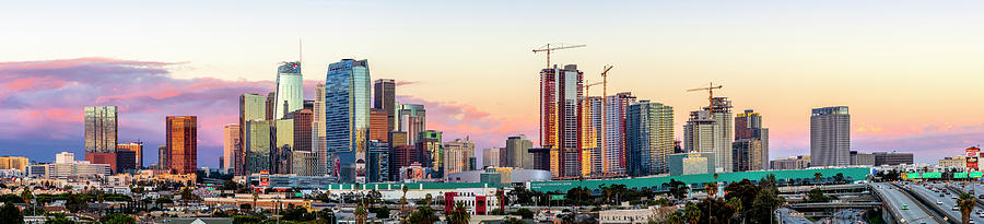 Los Angeles Photograph - Los Angeles Skyline Sunset - Panorama by Gene Parks