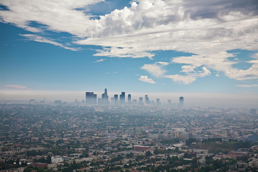Los Angeles Skyline With Smog Photograph by Justin Lambert