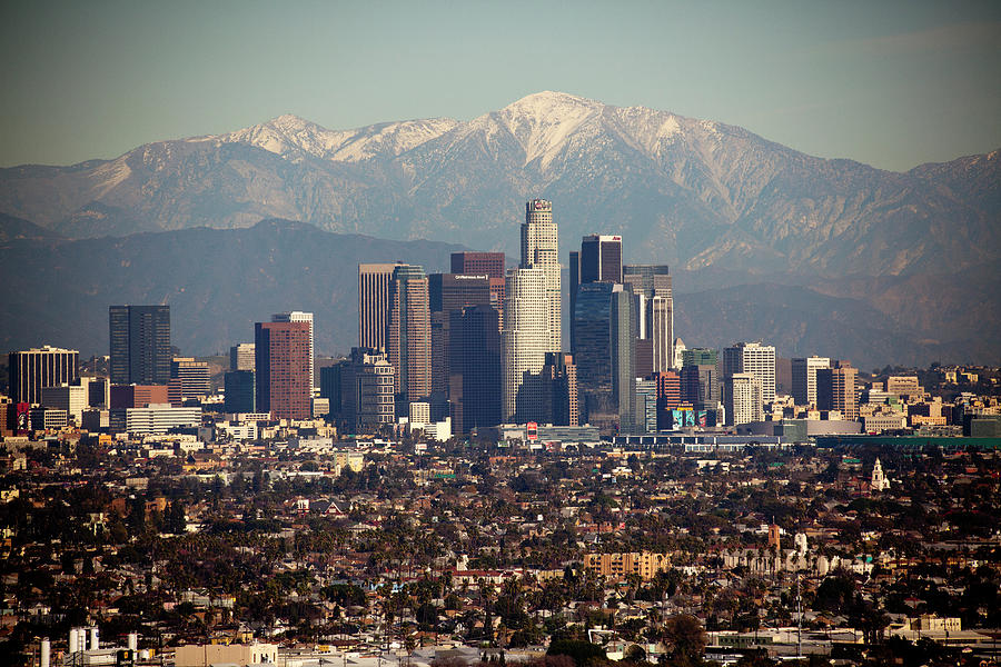 Los Angeles Skyline With Snow Capped Photograph by Sterling Davis Photo