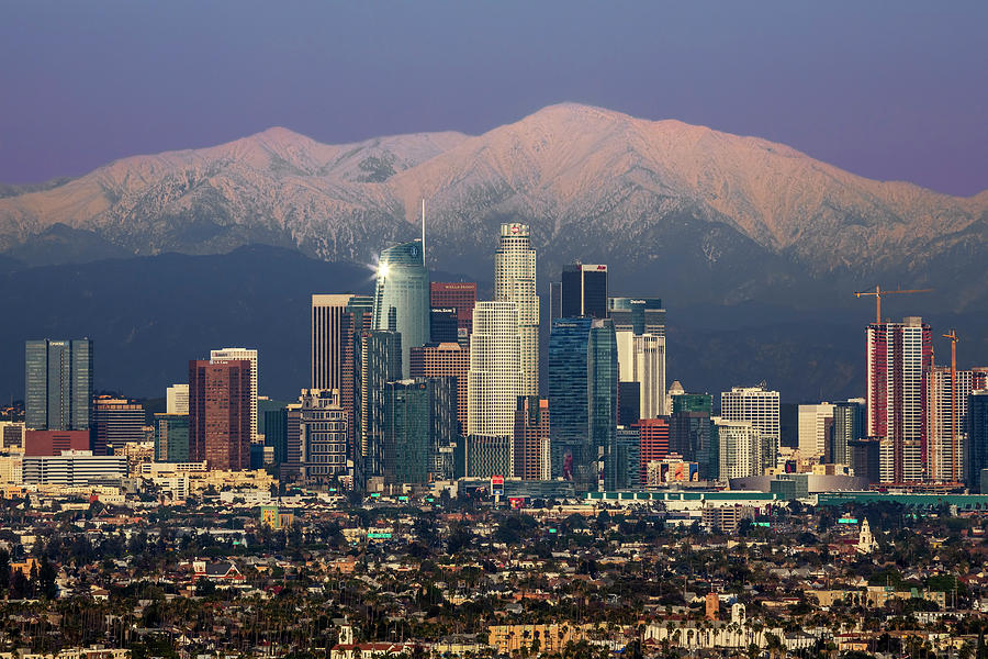 Los Angeles with Snow Capped Mts by Kelley King