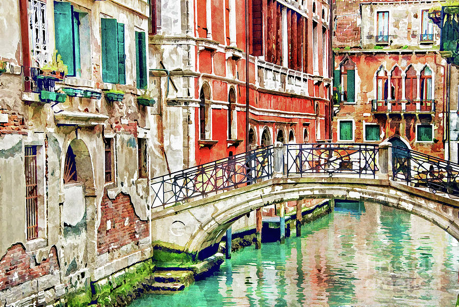 Venice Painting - Lost In Venice by Delphimages Photo Creations