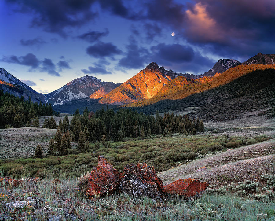Beautiful Photograph - Lost River Mountains Moon by Leland D Howard