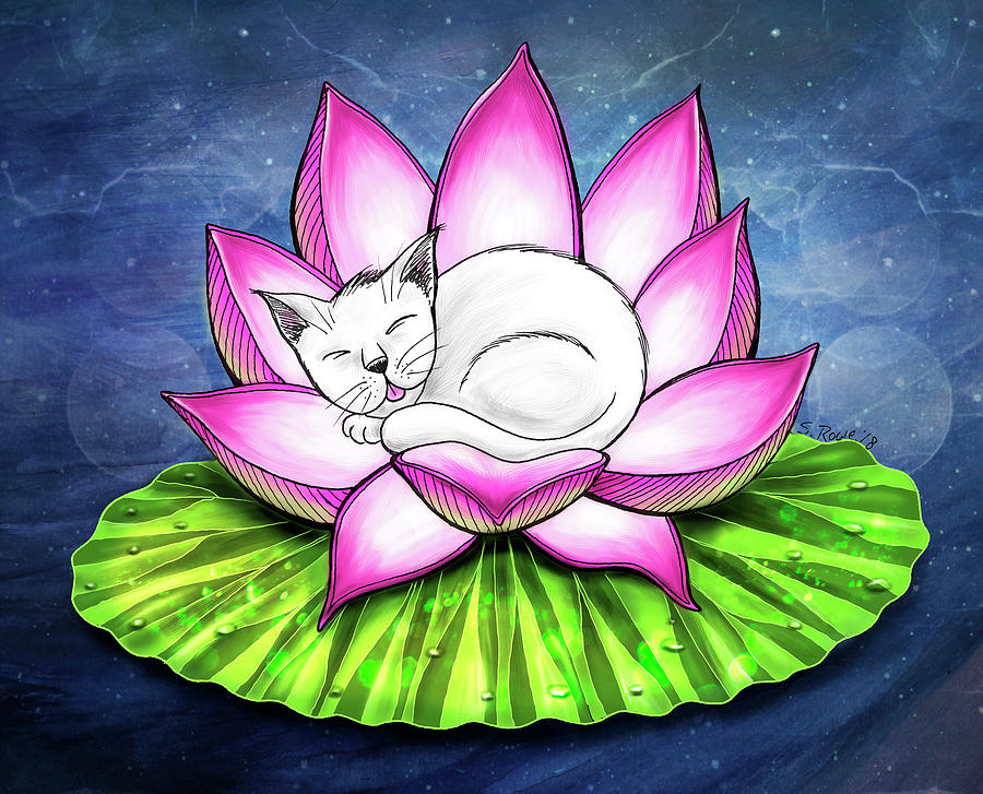 Lotus Cat by Shawna Rowe
