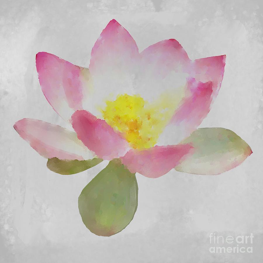 Lotus Flower On Gray Digital Art
