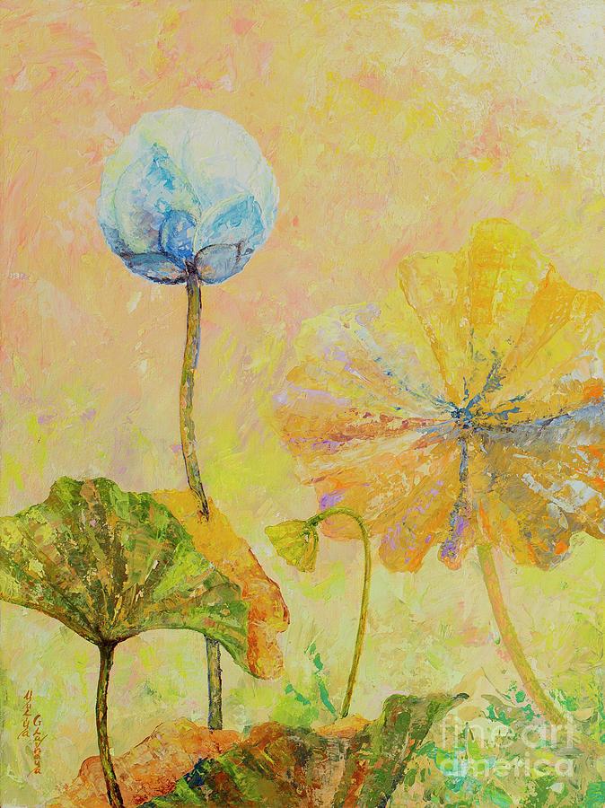 Lotus Painting - Lotus. Left part of the diptych by Yuliya Glavnaya