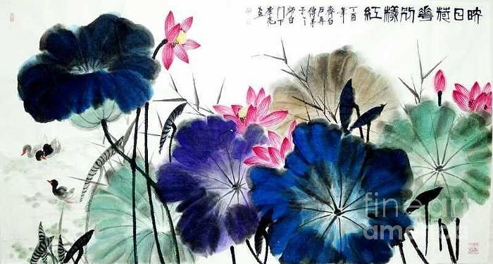 Lotus with Red Flowers by LI LIANG