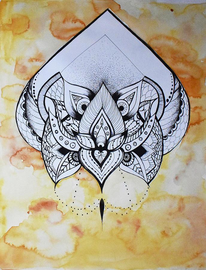 Watercolor Mixed Media - Lotus  by Yasmine Shakur
