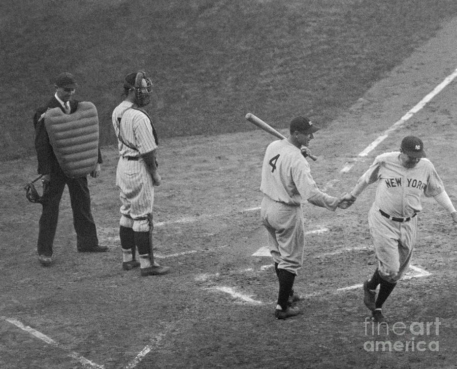 Lou Gehrig Greeting Babe Ruth At Plate Photograph by Bettmann