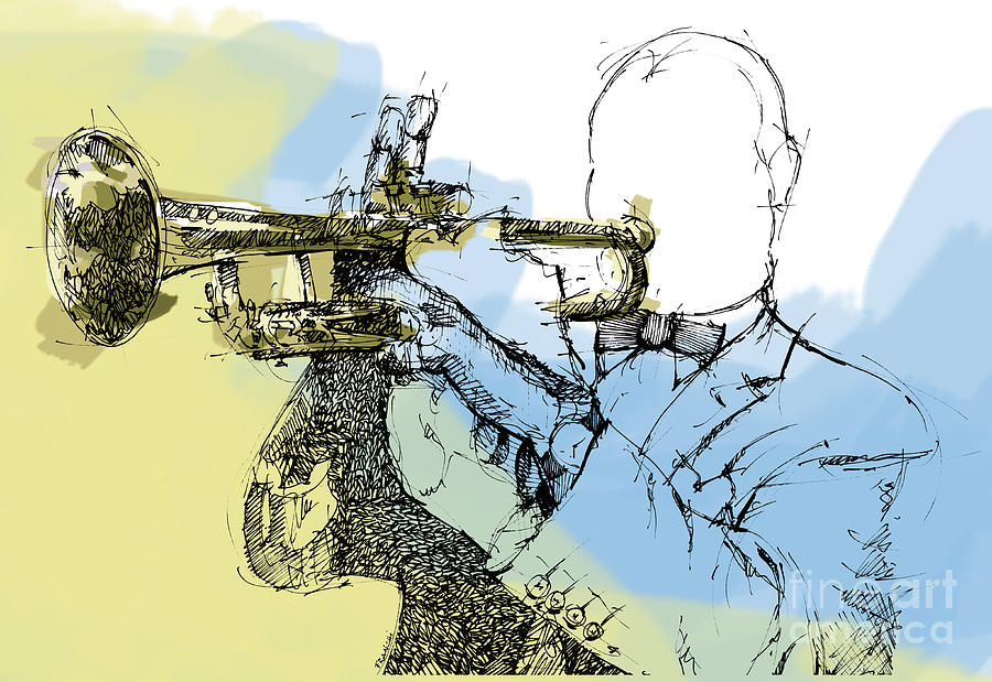 Louis Armstrong Digital Art - Louis Armstrong Jazz Trumpet Ink Drawing Original Sketch by Drawspots Illustrations