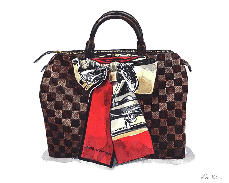 Louis Vuitton Bag Damier Ebene Speedy 1 Painting By Laura Row